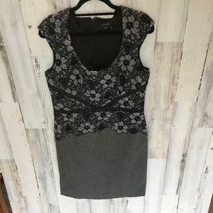 Ann Taylor Dress Black Charcoal Gray 12